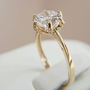2ct Round 14k Yellow Gold Engagement Ring